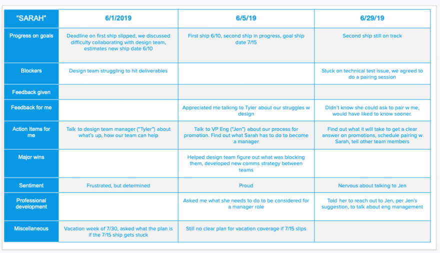Spreadsheet depicting a grid of multiple categories of data to collect during 1:1 meetings.