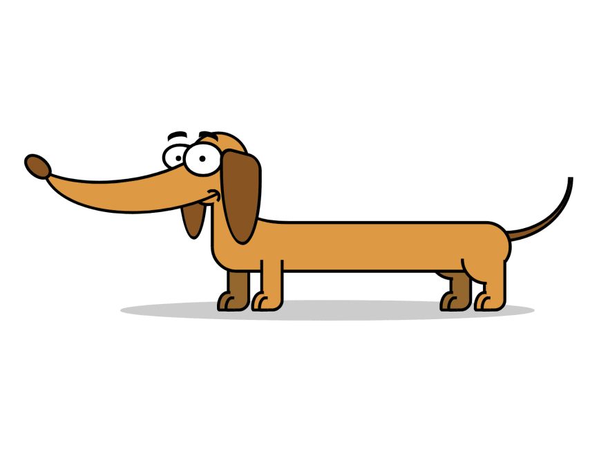 Cartoon of a wiener dog