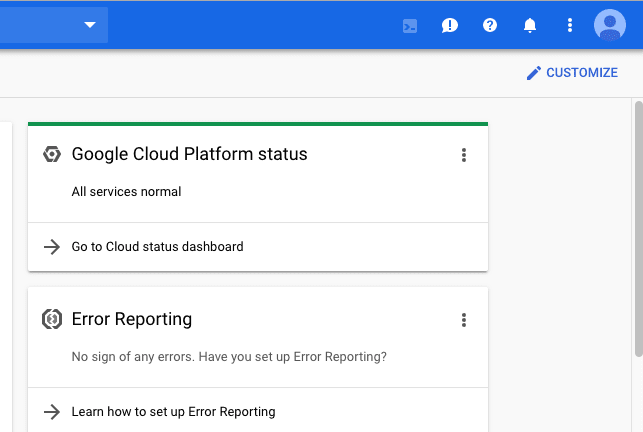 Screenshot of the Google Platform Console project dashboard displaying the shell icon which is the leftmost icon located at the top right corner of the page