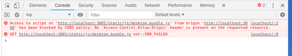 Browser's dev console errors while using dev server
