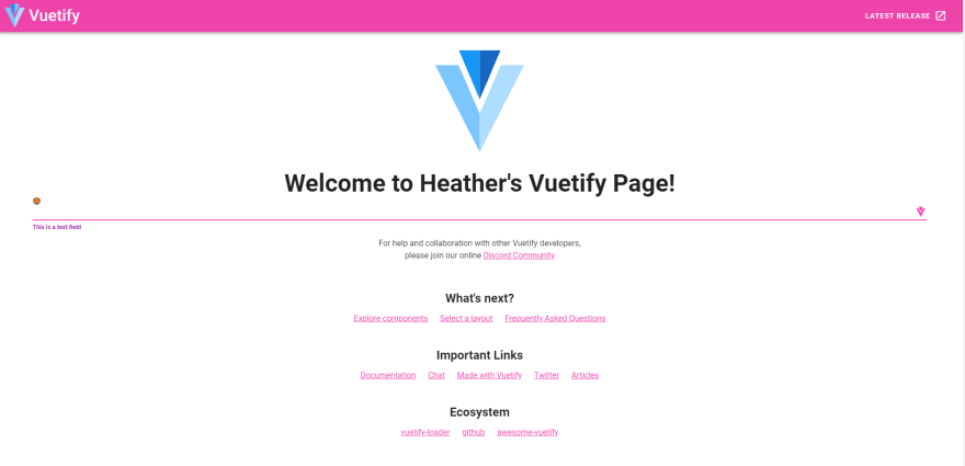 SS-Heathers Vuetify page