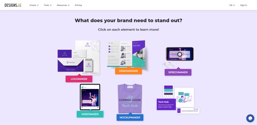 Screenshot of Designs.AI