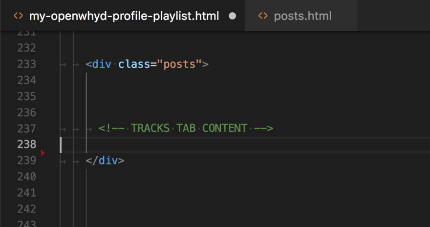 moving post divs from the playlist's html file to an external file