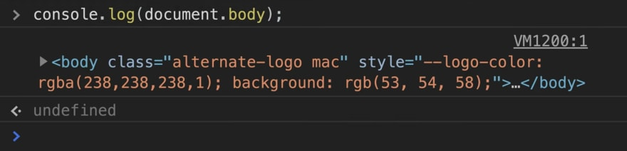 Showing the what is displayed when using console.log(document.body);