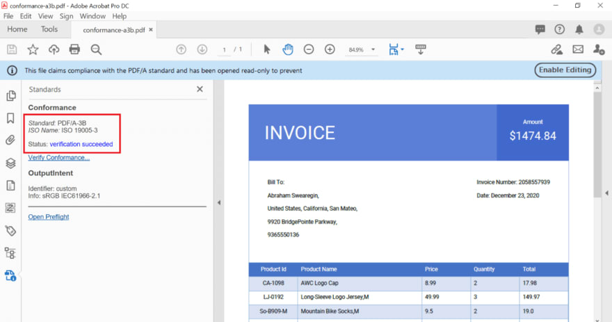 Create PDF/A -3B conformance document