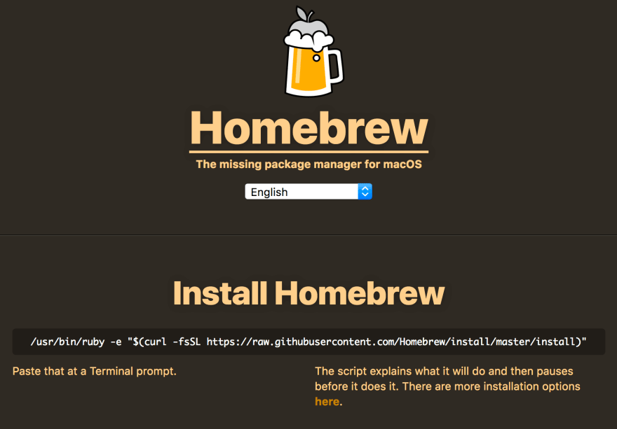 The Homebrew website.