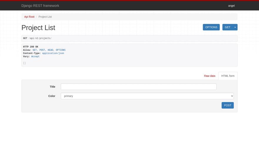 Interfaz gráfica de Django REST Framework