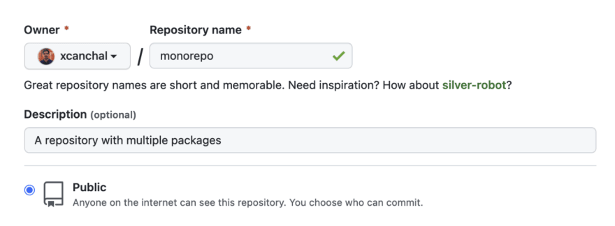 Github repository creation