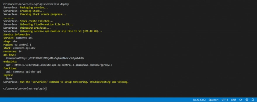 Serverless deployment output