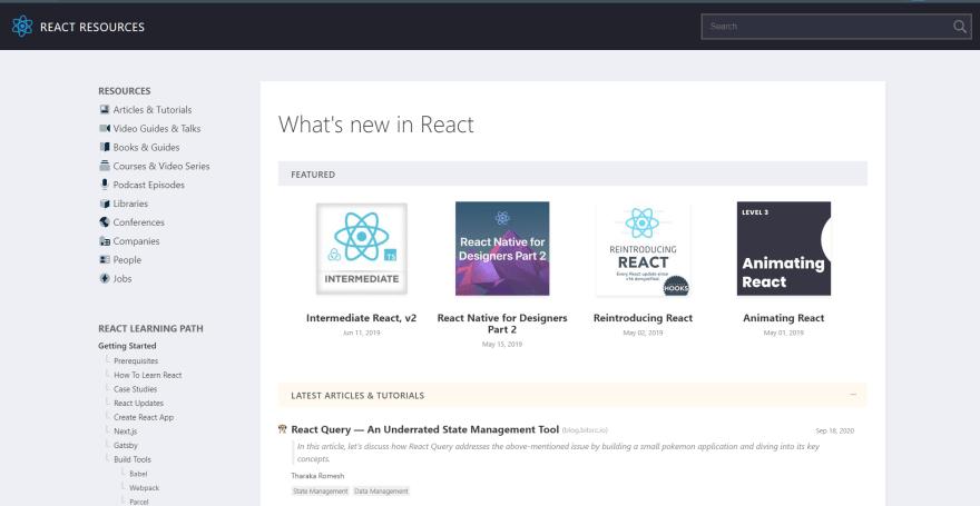 React resources website screen shot
