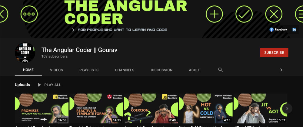 Cover image for Youtube channel for Angular