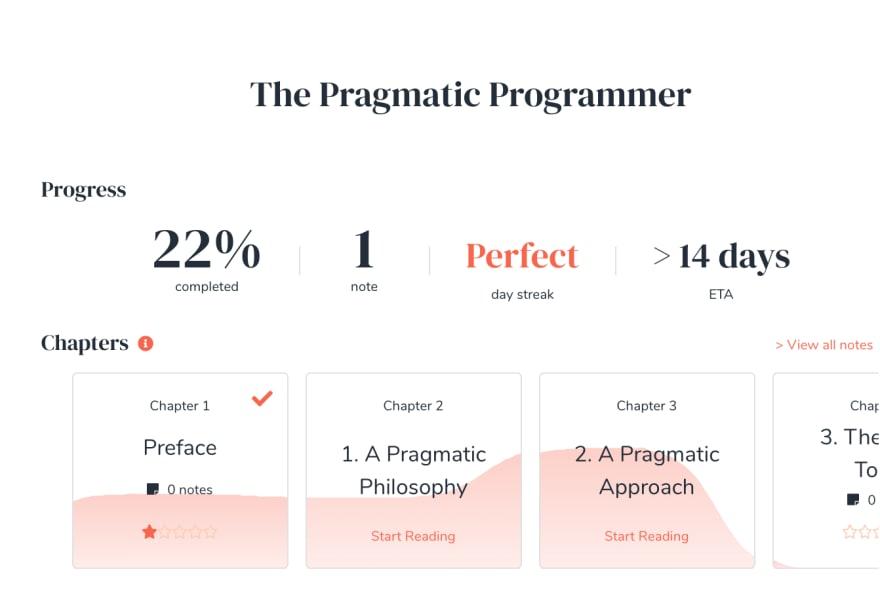 Screenshot of book progress overview