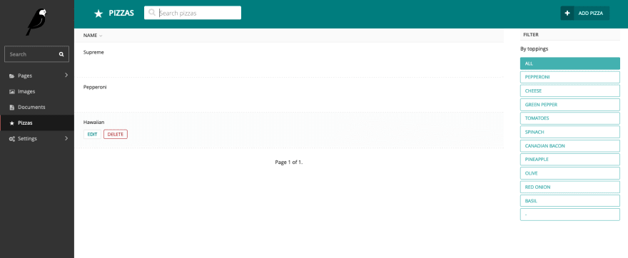 Pizzas menu in sidebar in the Wagtail admin