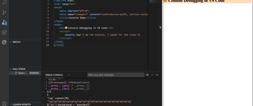 Cover image for Using console.log() debugging in Visual Studio Code