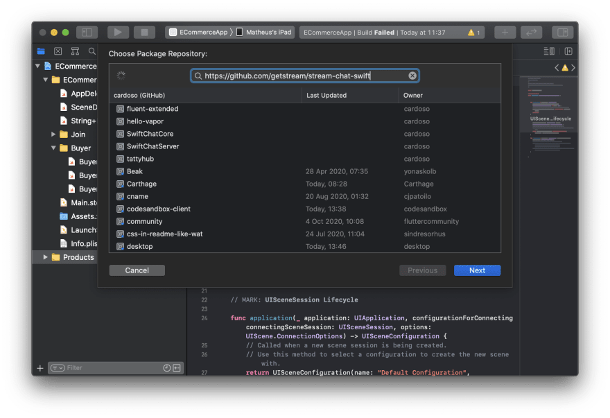 Screenshot shows Xcode with the Add Package Dependency dialog opened and Stream Chat iOS SDK GitHub URL in the input field