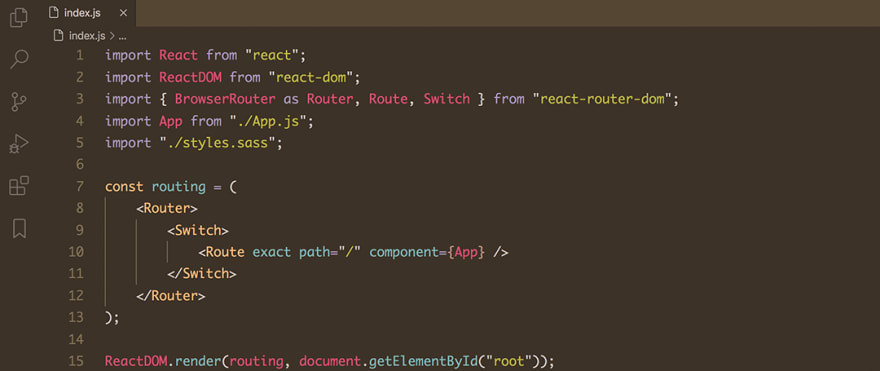React code snippet with the Base16 - Dark Mocha theme