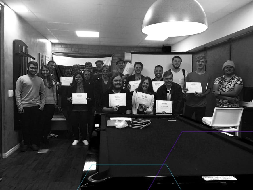 Me and other students with our certificates after presenting