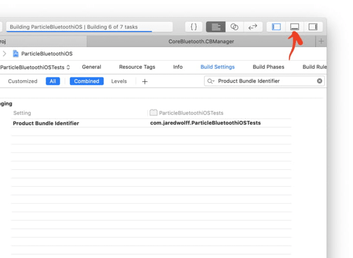 Bottom pane in Xcode for logs