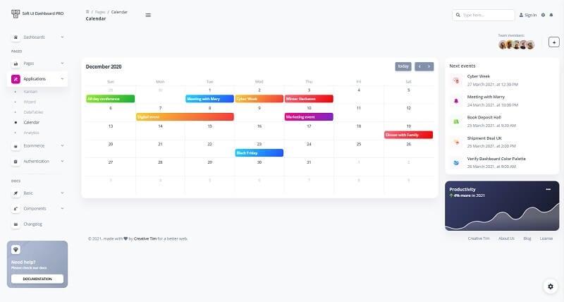 Soft UI Dashboard - Calendar Page.