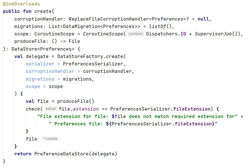 source code of PreferenceDataStoreFactory.create()