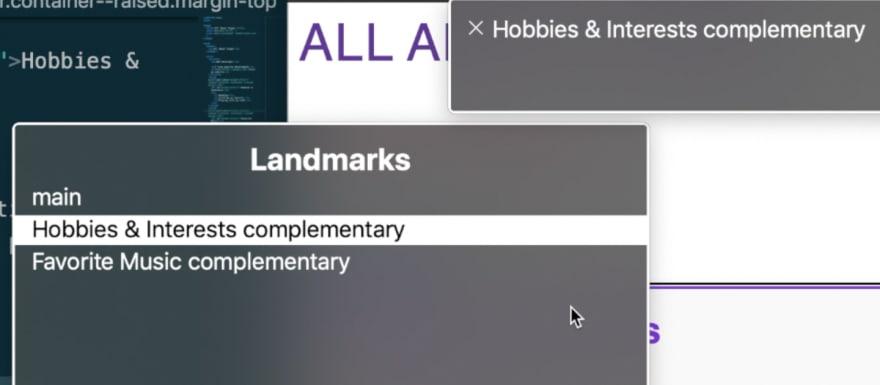 VO landmarks rotor menu