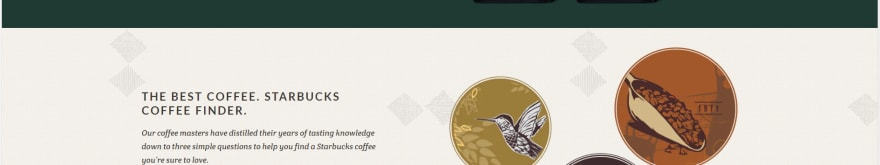 Screenshot of Starbucks page with background image