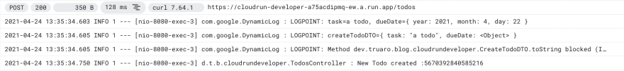 Logpoints output in Cloud Logging service