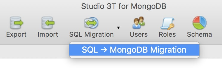 Open SQL Migration from the toolbar