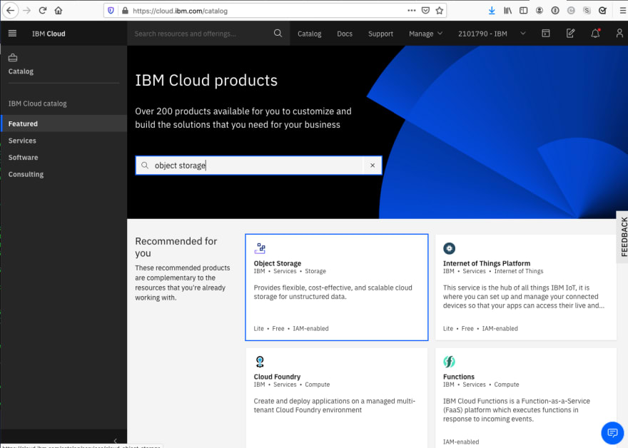 Finding IBM Cloud Object Storage in the Catalog