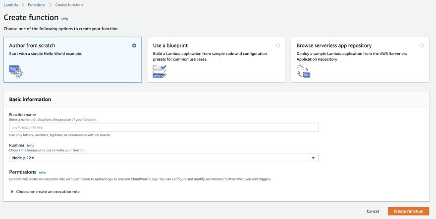 AWS Lambda create function menu