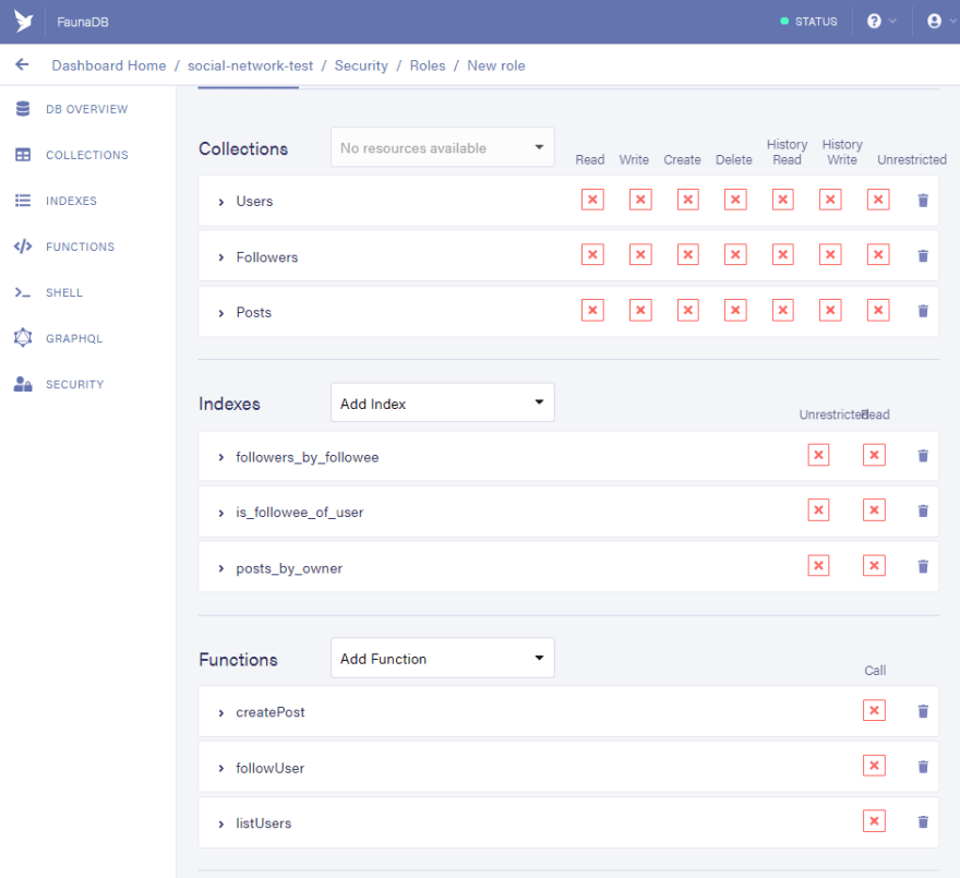 Fauna Dashboard: permissions view after adding all required indexes and collections