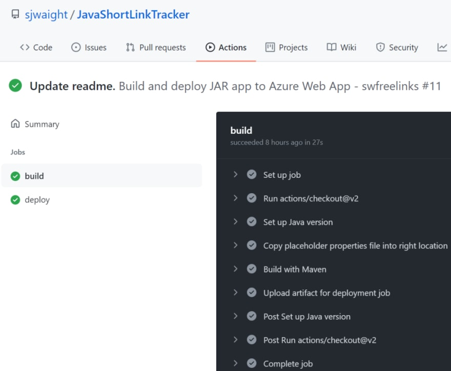 GitHub Action completed run screenshot.