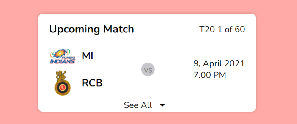 Cover image for Upcoming Match Card Using HTML & CSS
