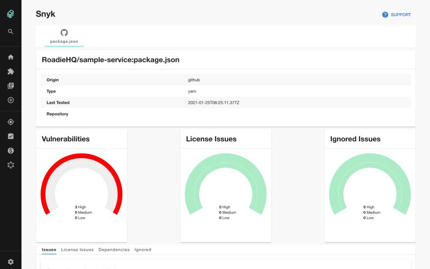 Screenshot of the Snyk plugin showing some sample data