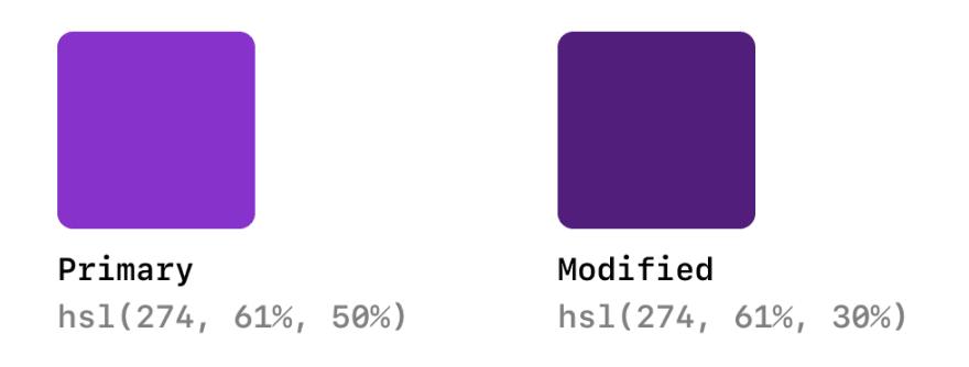 color comparison: primary vs modified with 40% lightness