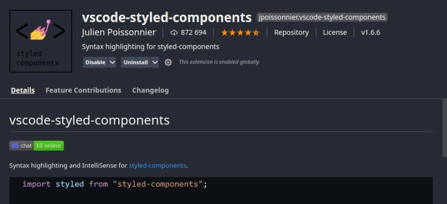suporte para styled components no vscode