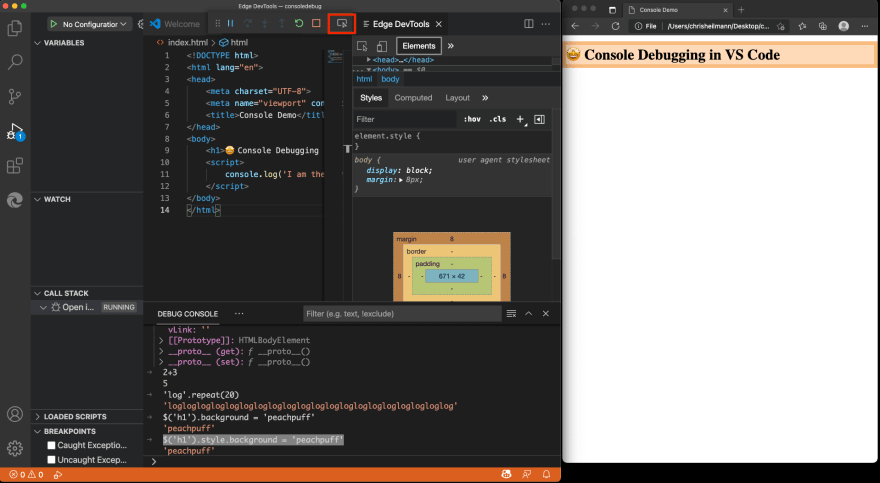Developer Tools in VS Code