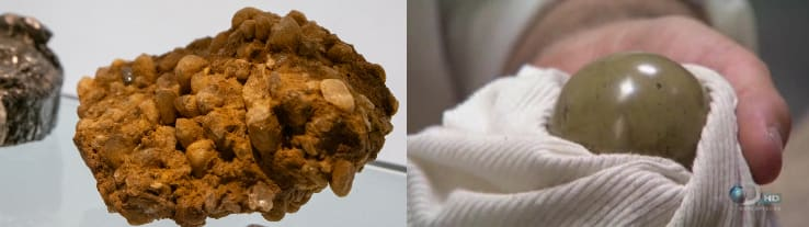 Left: Rough, uncut diamond. Right: Polished sphere of dung.