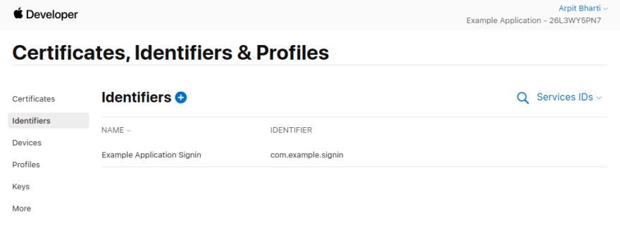 Service ID List