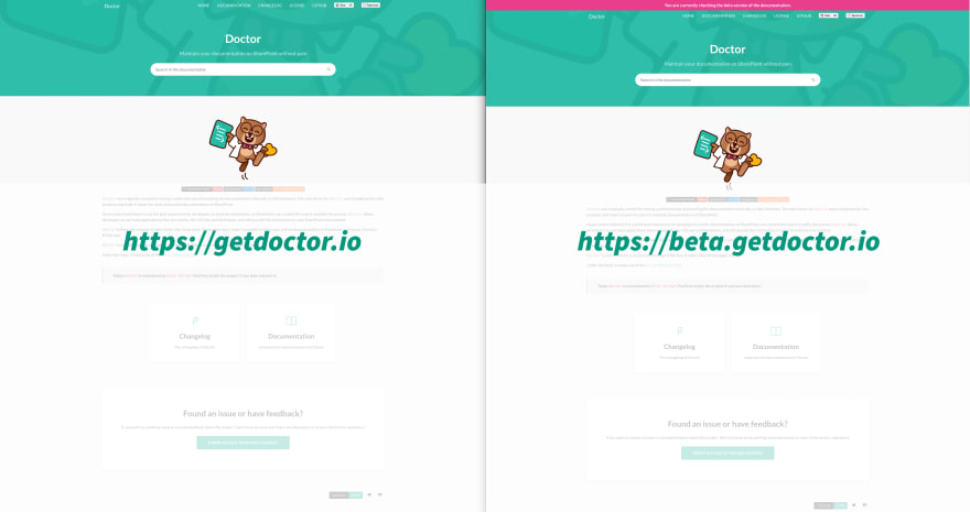 Difference between production and beta documentation site