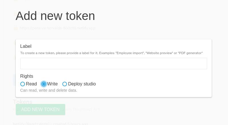 Screenshot of Sanity's API management interface