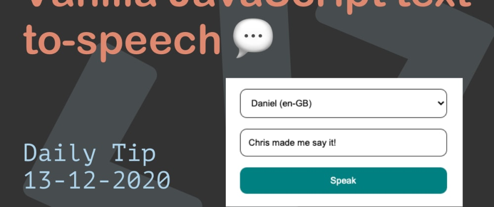 Cover image for Vanilla JavaScript text-to-speech 💬