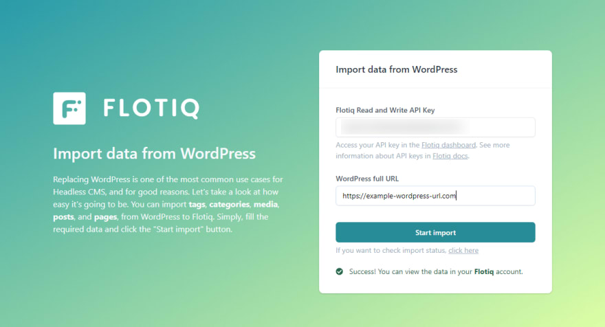 WordPress to Flotiq migration service
