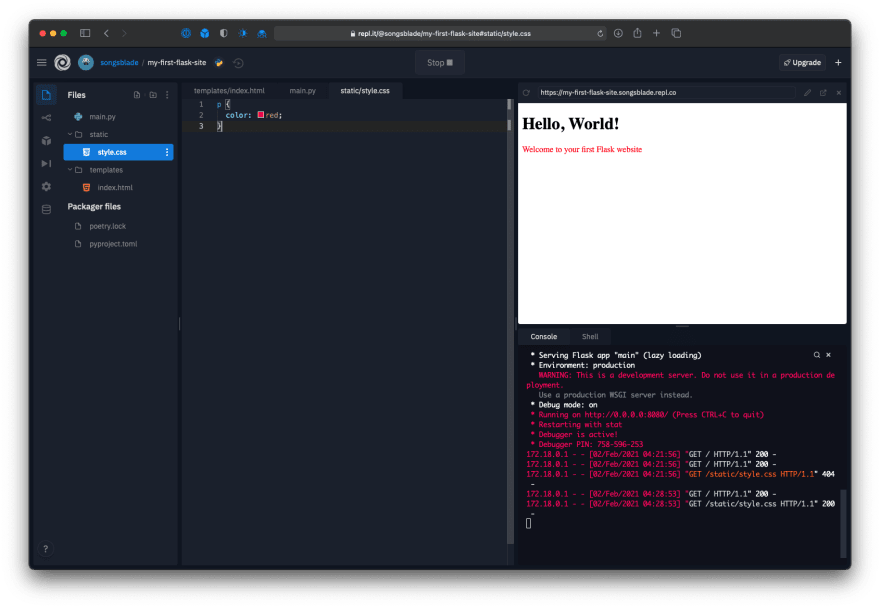 Repl editor showing the web app's new red text