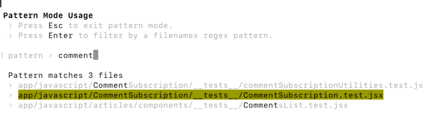 Screenshot of jest test runner options in watch mode for filtering test files based on filename