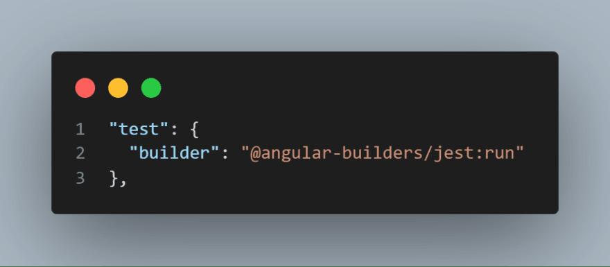 Parte de los tests del fichero angular.json