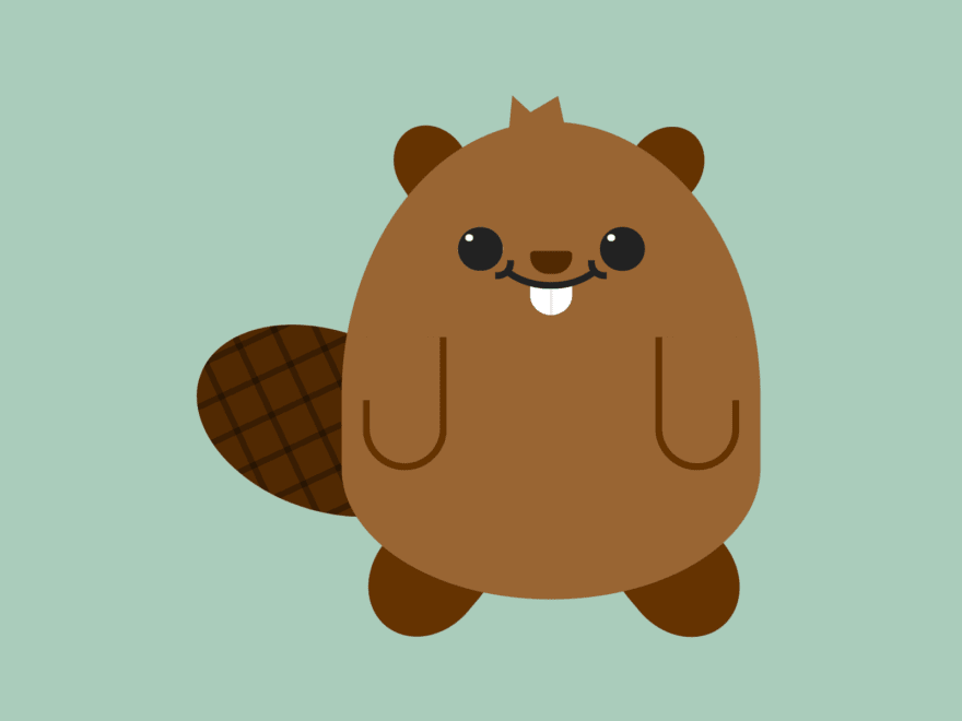 Cartoon of a smiling beaver