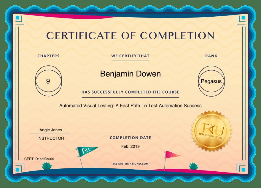 Ben's Certificate