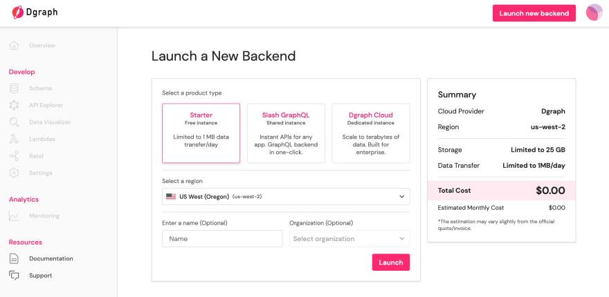 Configuring a new Dgraph Cloud backend