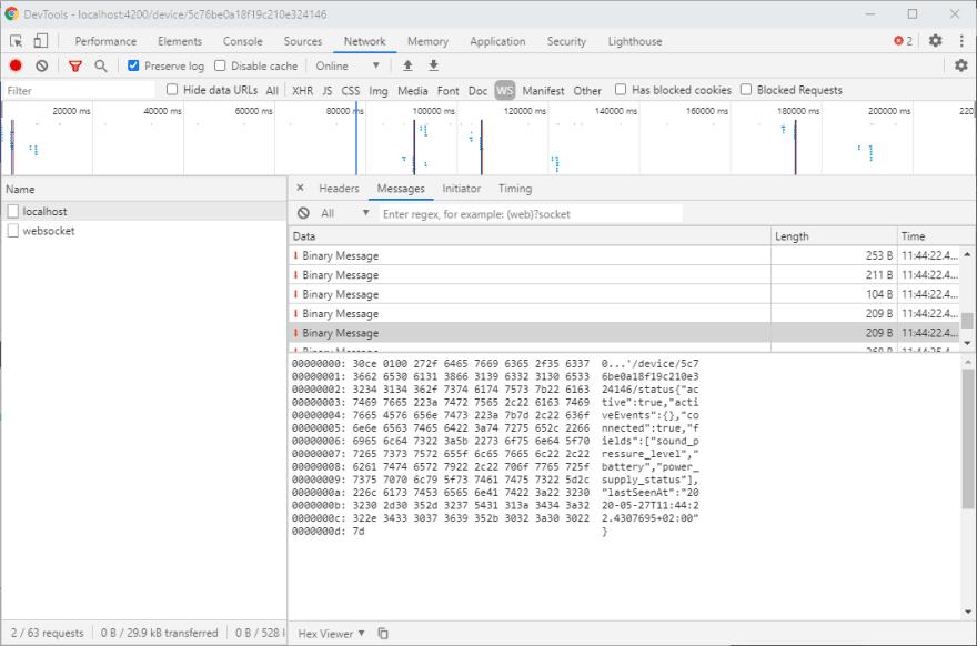 Websockets Google Chrome debugging